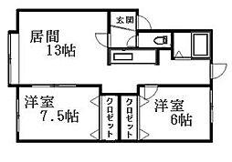 北海道札幌市清田区平岡一条1丁目の賃貸アパートの間取り