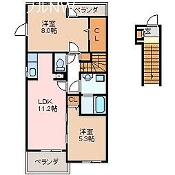 三重県多気郡明和町大字斎宮の賃貸アパートの間取り