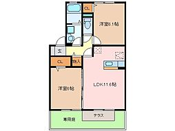 三重県松阪市郷津町の賃貸アパートの間取り