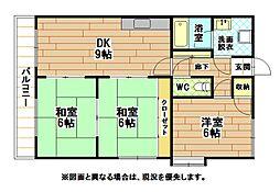 福岡県北九州市若松区高須東4丁目の賃貸マンションの間取り