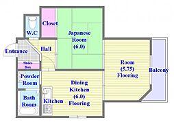 兵庫県神戸市垂水区星陵台7丁目の賃貸マンションの間取り