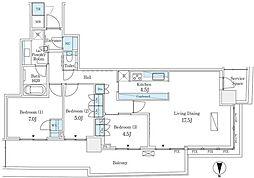 東京メトロ有楽町線 月島駅 徒歩12分の賃貸マンション 44階3LDKの間取り