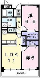 兵庫県揖保郡太子町鵤の賃貸マンションの間取り
