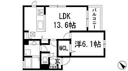 大阪府池田市綾羽1丁目の賃貸アパートの間取り