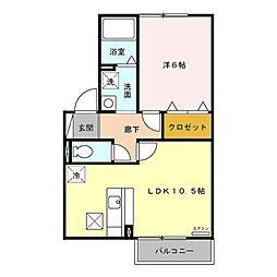 プランドールロッジAB[1階]の間取り