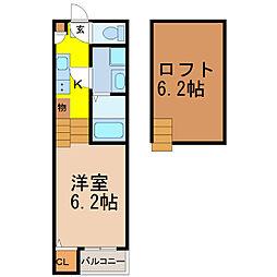 名古屋市営名港線 六番町駅 徒歩7分の賃貸アパート 1階1SKの間取り
