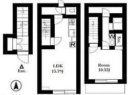 東急東横線 自由が丘駅 徒歩10分の賃貸マンション 2階1LDKの間取り