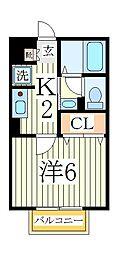 千葉県流山市西初石3丁目の賃貸アパートの間取り
