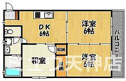 福岡県福岡市中央区平尾5丁目の賃貸マンションの間取り