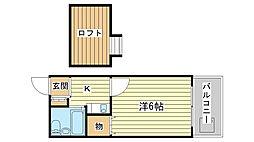 兵庫県姫路市新在家中の町の賃貸アパートの間取り