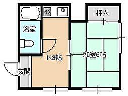 福岡県北九州市小倉北区重住3丁目の賃貸アパートの間取り