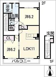 ライヒ レーベン[2階]の間取り