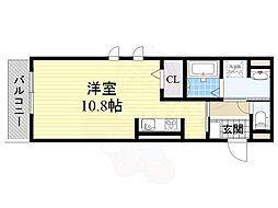 Osaka Metro谷町線 谷町六丁目駅 徒歩3分の賃貸アパート 2階ワンルームの間取り