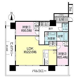 ヴィークタワー南堀江[18階]の間取り