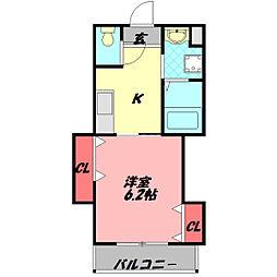 ラ・リンピア 4階1Kの間取り