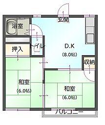 黒沢コーポ[203号室]の間取り