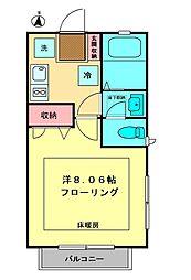 京王線 高幡不動駅 徒歩8分の賃貸アパート 2階1Kの間取り