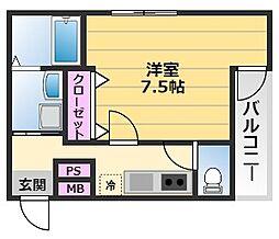フジパレス堺南長尾7番館 3階1Kの間取り