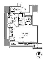 JR山手線 浜松町駅 徒歩3分の賃貸マンション 5階ワンルームの間取り