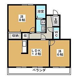 愛知県愛知郡東郷町清水4丁目の賃貸マンションの間取り
