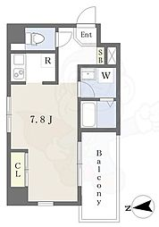 阪急京都本線 茨木市駅 徒歩3分の賃貸マンション 4階ワンルームの間取り