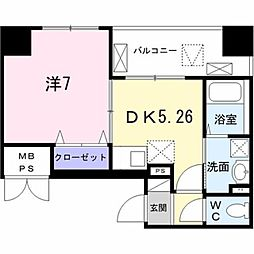 東京メトロ日比谷線 築地駅 徒歩8分の賃貸マンション 4階1DKの間取り