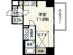 JR山陽本線 広島駅 徒歩9分の賃貸マンション 12階ワンルームの間取り