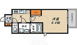 レジュールアッシュ大阪城北 1階1Kの間取り