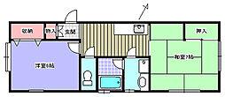 サニーヒル香島 1階2Kの間取り