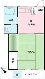 鶴巻荘[202号室]の間取り