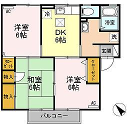 エトワール増田(アパート) 1階3DKの間取り