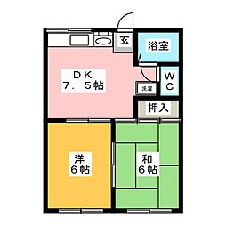 コーポ新谷1[1階]の間取り