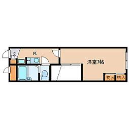近鉄奈良線 近鉄奈良駅 バス26分 州見台7丁目下車 徒歩4分の賃貸マンション 2階1Kの間取り