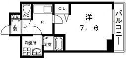 Osaka Metro谷町線 四天王寺前夕陽ヶ丘駅 徒歩7分の賃貸マンション 4階1Kの間取り