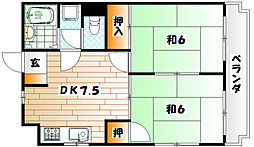 シャトレ緑ヶ丘[502号室]の間取り