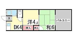兵庫県神戸市中央区神仙寺通2丁目の賃貸アパートの間取り
