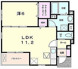 滋賀県近江八幡市小船木町の賃貸アパートの間取り