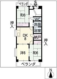 サンメゾンノモト[4階]の間取り