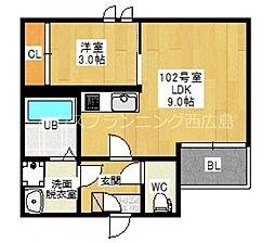 JR山陽本線 新井口駅 徒歩14分の賃貸アパート 1階1LDKの間取り