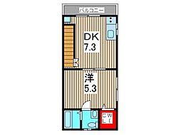 埼玉県蕨市北町2丁目の賃貸アパートの間取り