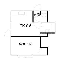 北海道札幌市中央区北二条西23丁目の賃貸アパートの間取り