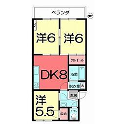 プレジデント35 206 2階3DKの間取り