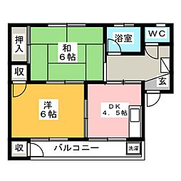 萩アパート[3階]の間取り