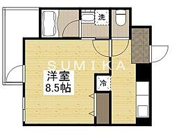 THE MODERN 京町 3階1Kの間取り