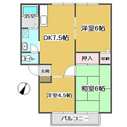 広島県福山市蔵王町3丁目の賃貸アパートの間取り