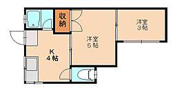 オークツリー別府[2階]の間取り