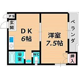 Osaka Metro谷町線 千林大宮駅 徒歩10分の賃貸マンション 7階1DKの間取り