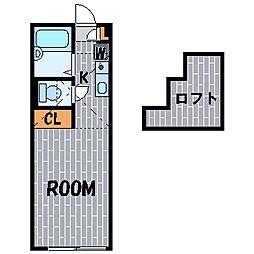 ハーミットクラブハウスパーシーズB[1階]の間取り