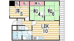 大阪府大東市緑が丘1丁目の賃貸マンションの間取り