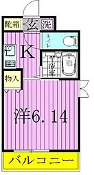 ハイポイント竹ノ塚[607号室]の間取り
